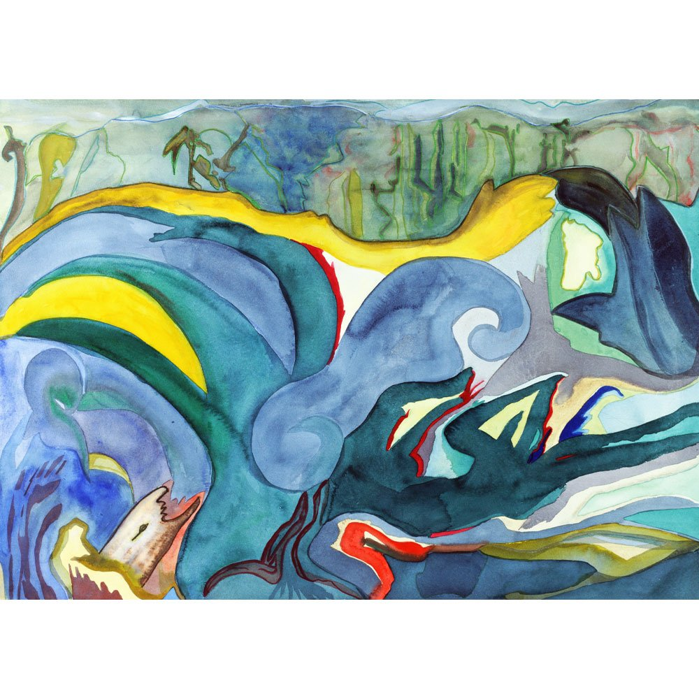 watercolor of a underwater scene with blues and yellows