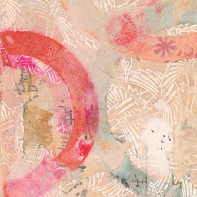 pink collage with pink circles and blue and red paper with white birds