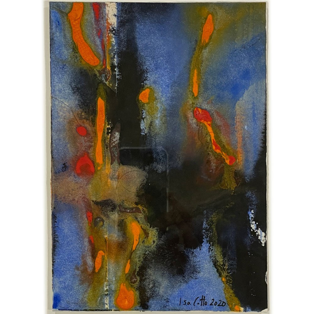 Abstract painting with blue, black, orange, and red which represents cancer