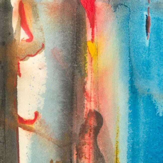 up-close of a hotspot watercolor abstract painting featuring red, yellow, blue, and gray