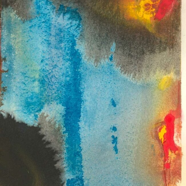 up-close of a hotspot watercolor abstract painting which represents cancer