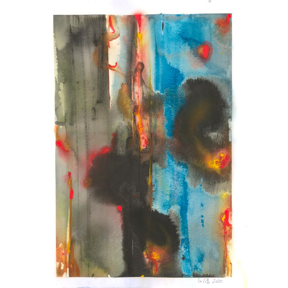 Hotspot watercolor abstract painting which represents cancer featuring splotches of black, blue, orange, and red