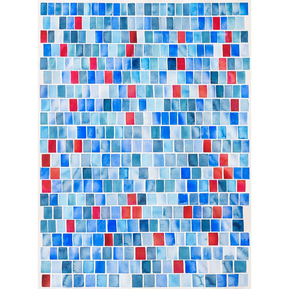 Painting featuring rows of blue and red rectangles