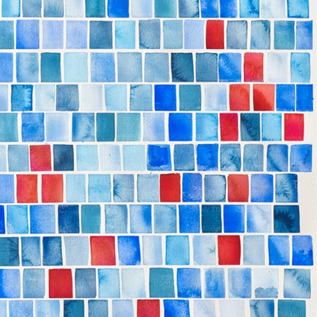 Close-up of a painting of rows of blue and red rectangles