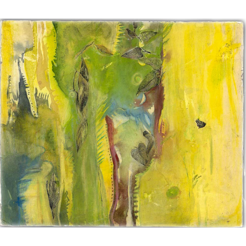 Mixed-media artwork using green, yellow, and a little purple in a generally vertical abstract pattern