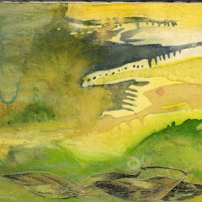up-close of a mixed media piece featuring abstract green and yellow shapes as well as several leaves