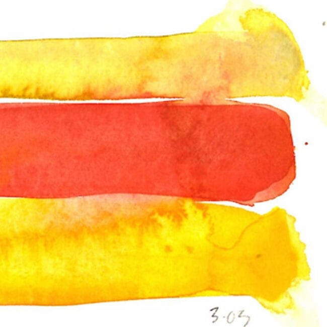 Up close of a painting showing red and yellow stripes with the date written