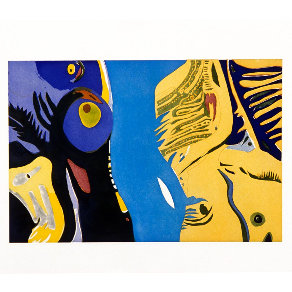 blue and yellow print with a variety of shapes