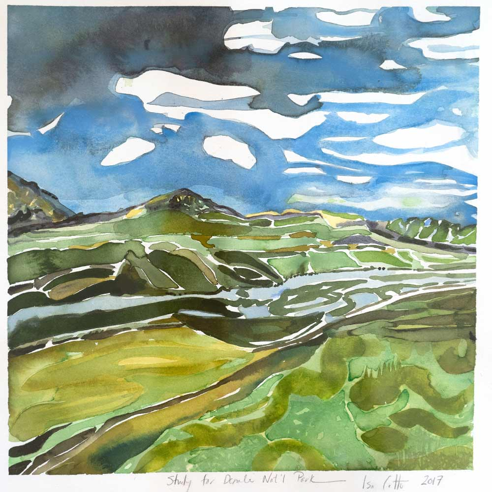 Painting of Denali, with the surrounding landscape painted in various shades of green and the Sky blue with oncoming storm clouds