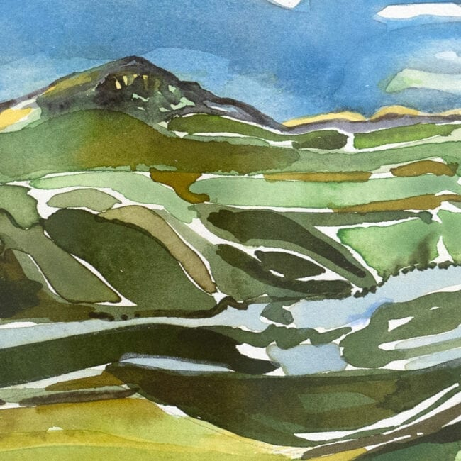 Close-up of a painting of Denali featuring green landscape and blue sky