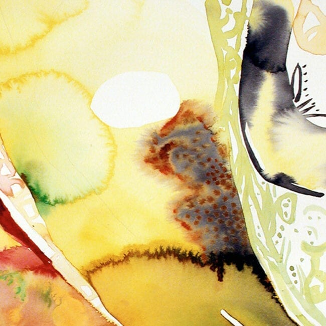 Up-close of an abstract green, yellow, and red painting representing the story of Persephone and Pluto