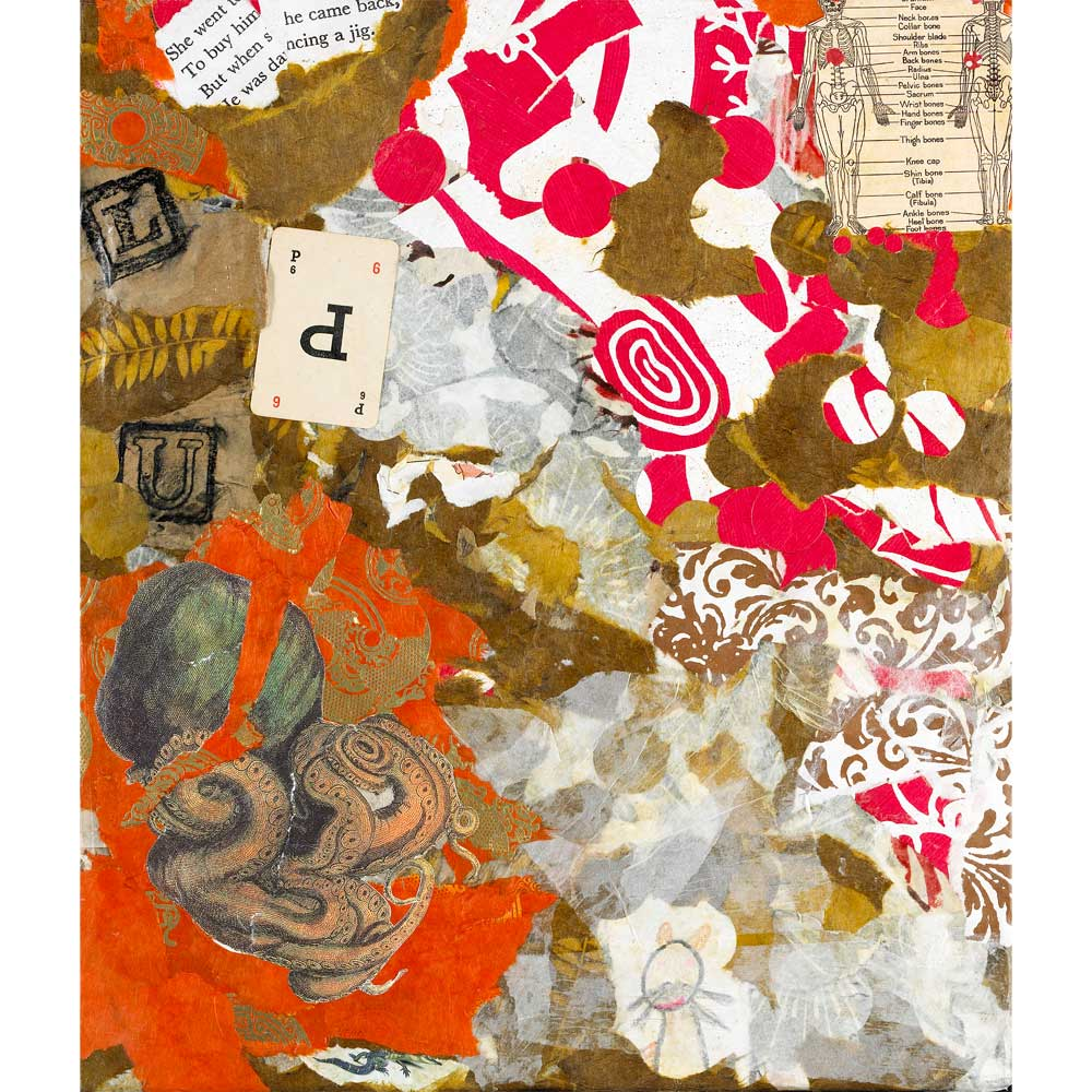 multi-color collaged paper with playing cards and an ancient octopus