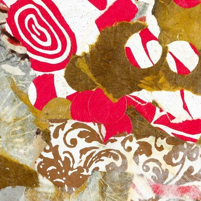 mixed media collage of pink and brown paper with floral elements