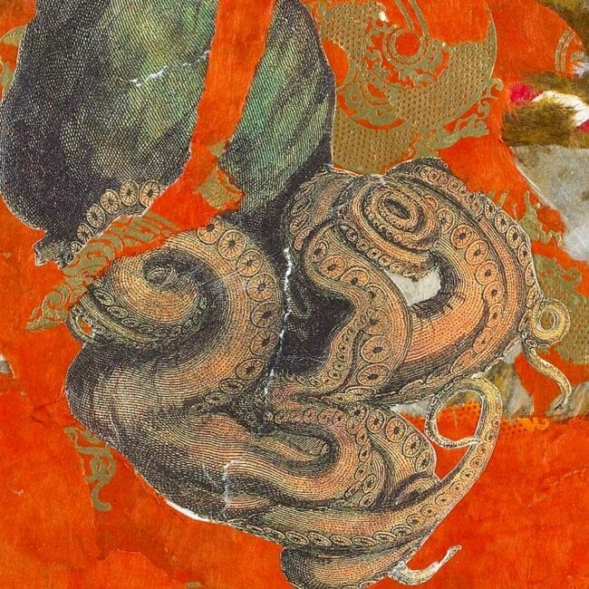 mixed media collage with bright orange background and an image of octopus tentacles