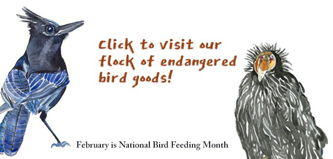 watercolor painting of a steller's jay and a california condor with copy to visit our endangered bird products