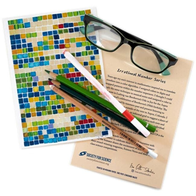 colorful blue and green and tan squares notecards with matching pencils and glasses