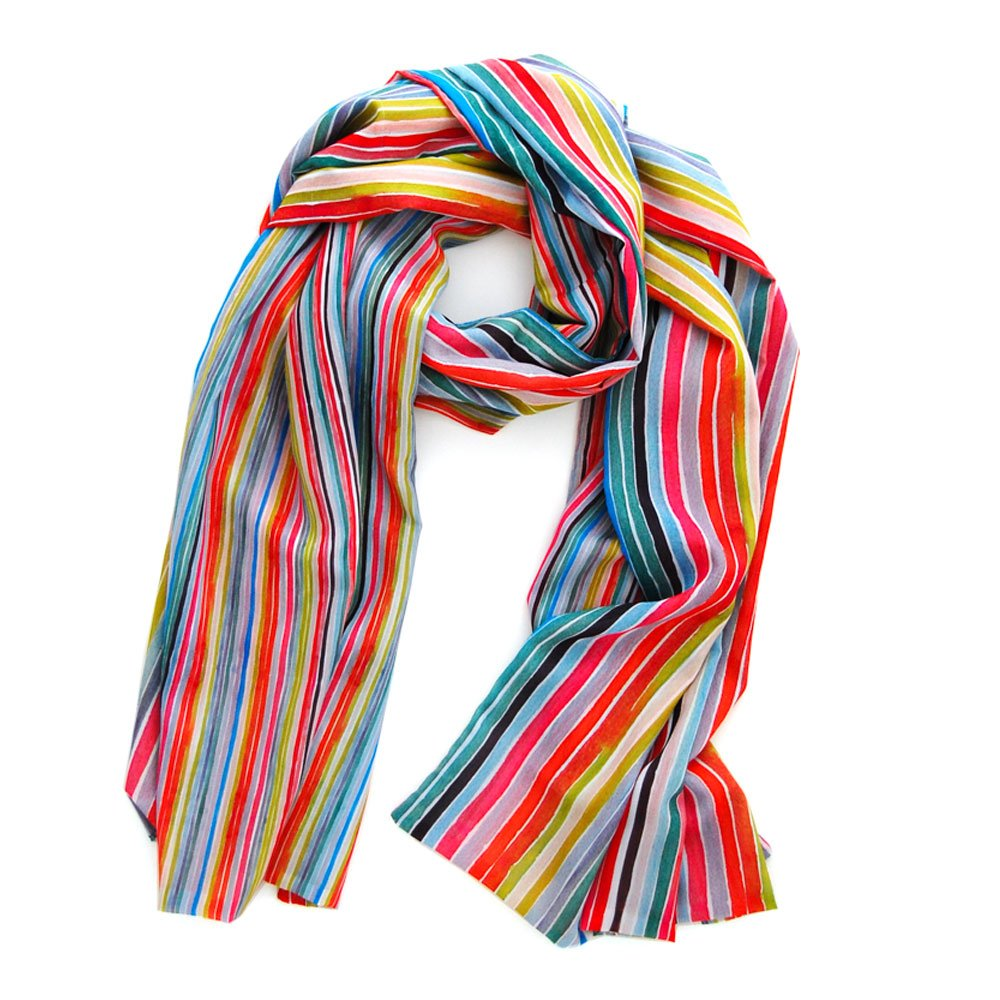 colorful stripes adorn this double sided long rectangular chiffon scarf, one side has bigger stripes than the reverse