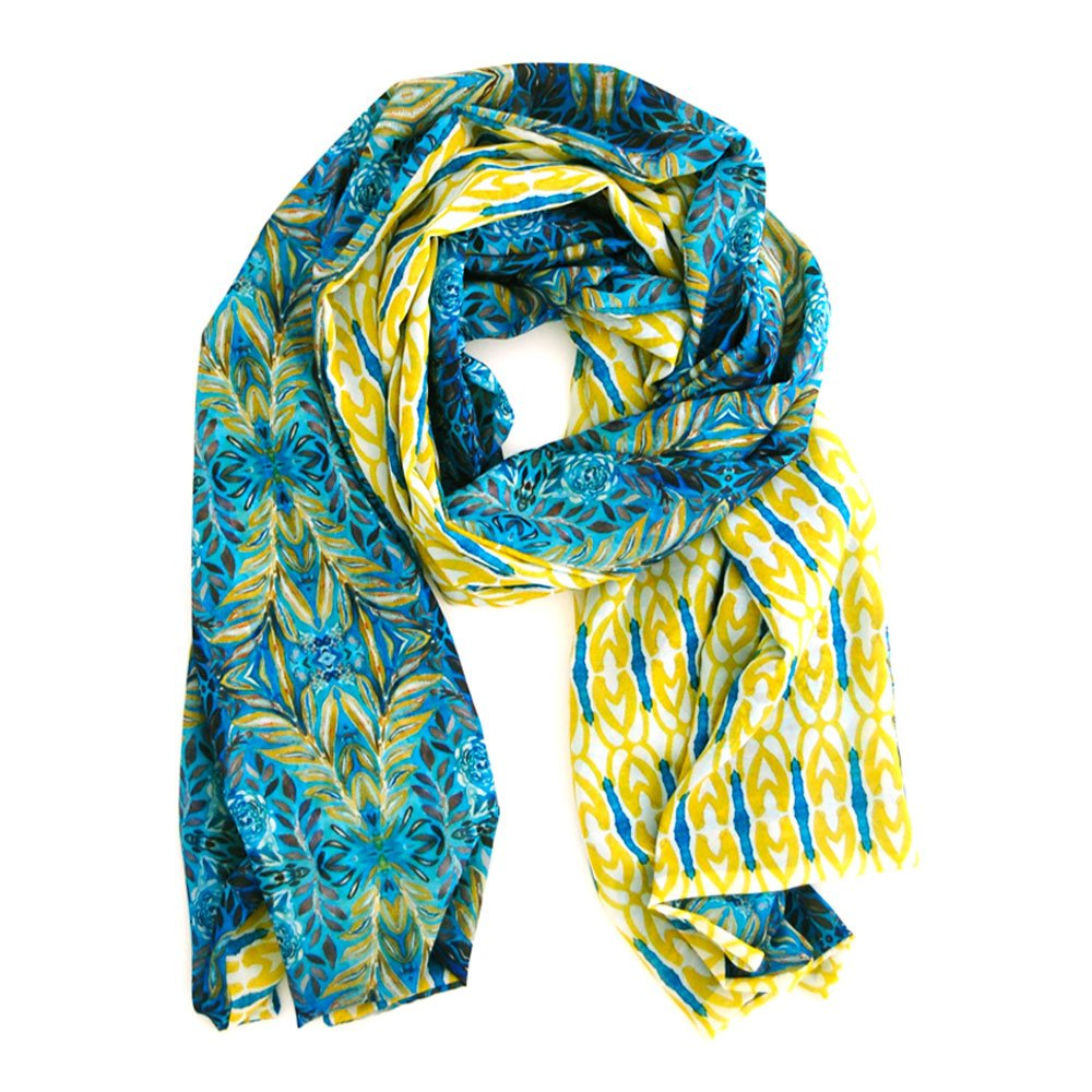 double sided chiffon scarf with a yellow and turquoise geometric pattern on one side and a darker lush turquoise and yellow pattern on the reverse, garden inspired