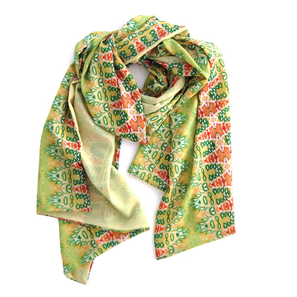 double sided chiffon scarf with lemongrass on one side and a garden geometric pattern with light yellows, greens and pinks