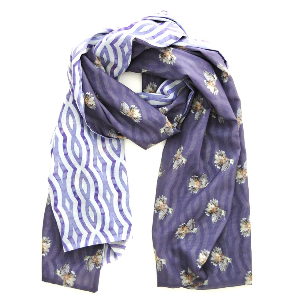 lavender scarf with painted hummingbird pattern on one side and watercolor wavy lavender stripes on the reverse