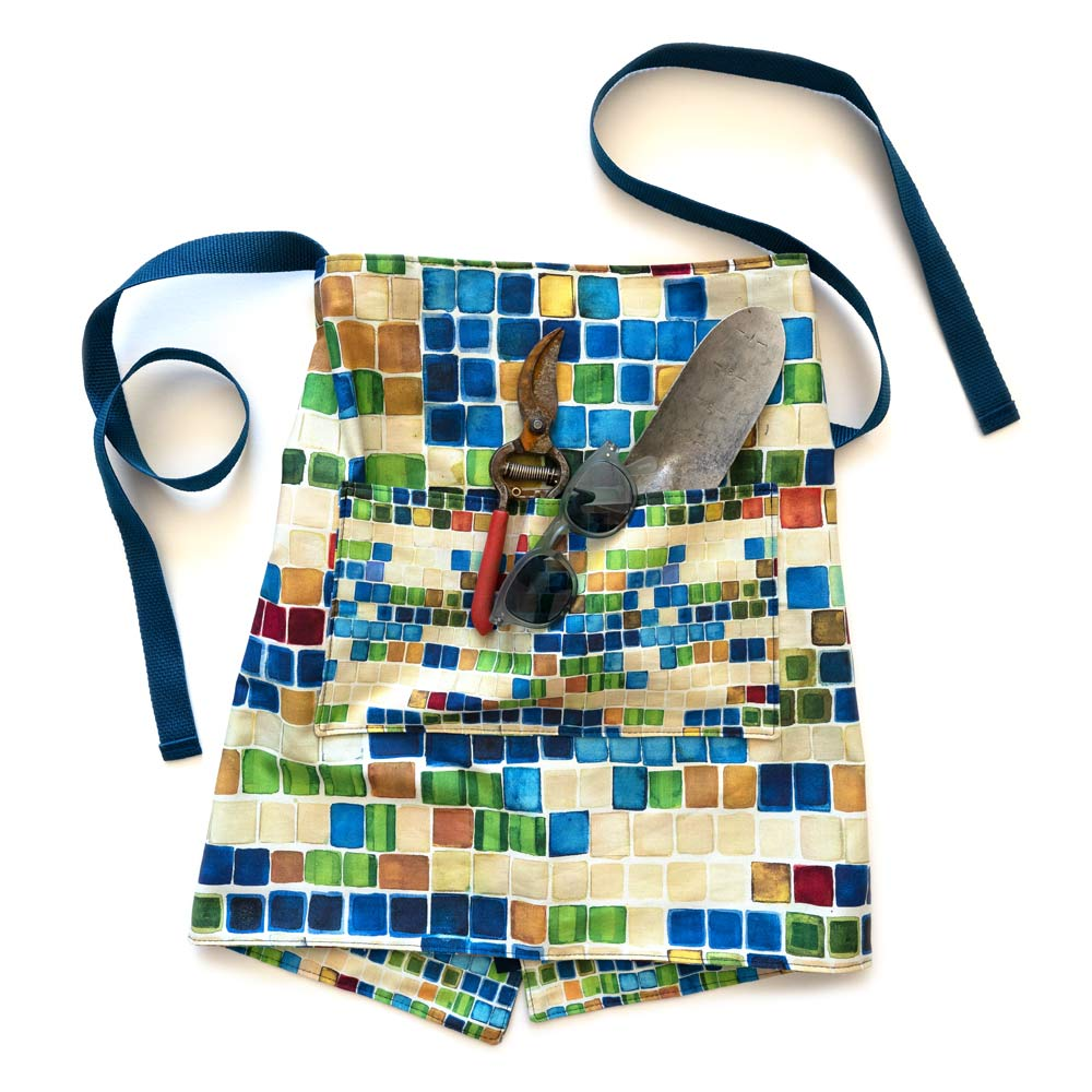 geometric colorful squares waist apron with gardening tools in the pocket