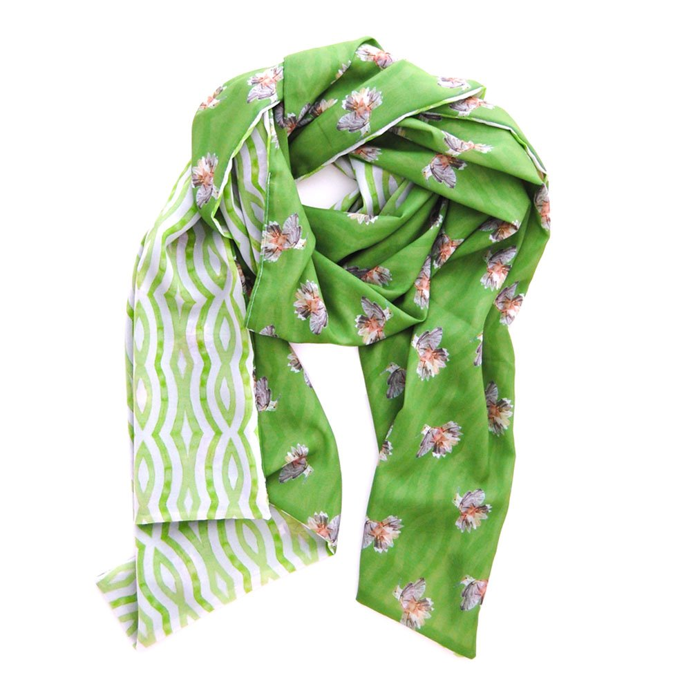 verdant green scarf with painted hummingbirds on one side and watercolor wavy stripes on the reverse, also in garden green