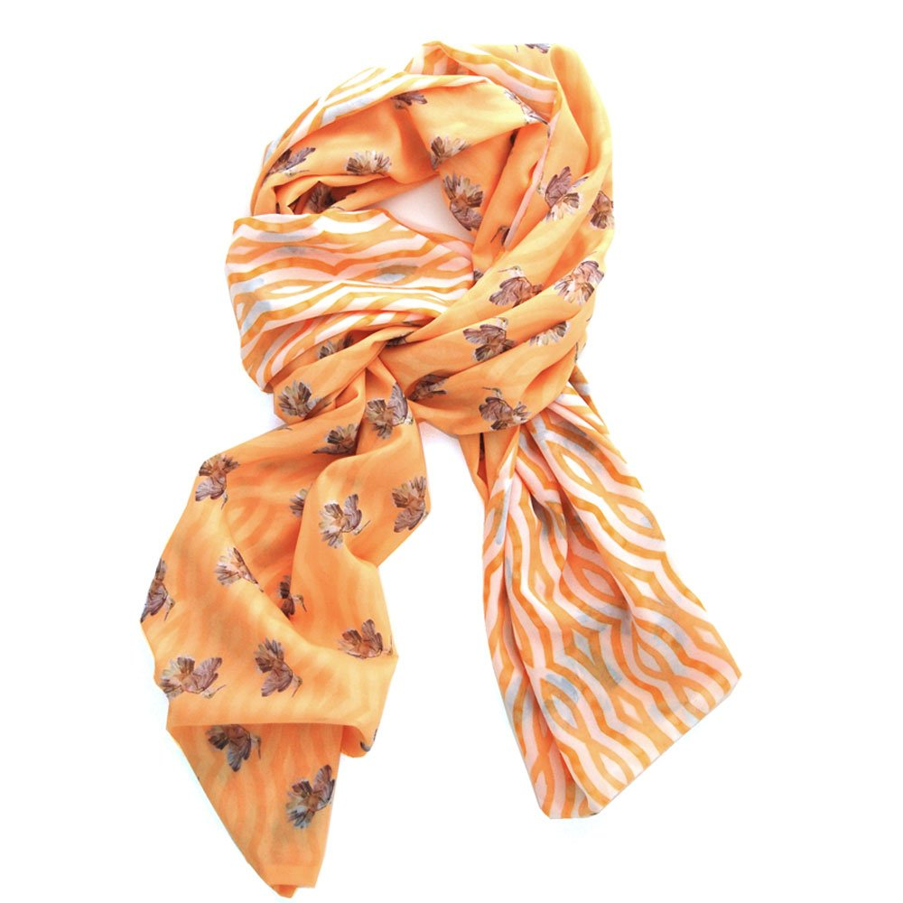 sublime yellow scarf with illustrated hummingbirds on one side and hand-painted wavy geometric lines on the reverse