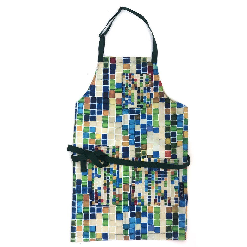 colorful geometric full size apron with pockets that had a smaller scale pattern; blue waist and neck straps