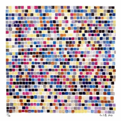 very colorful geometric squares painting with purples, pinks, and blues that follows a color algorithm