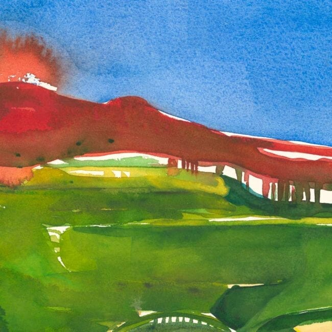 blue sky, red mountains, and green flatland watercolor landscape painting detail depicting the glow of the mountains