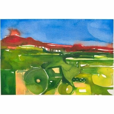 blue sky, red mountains, and green flatland watercolor landscape painting