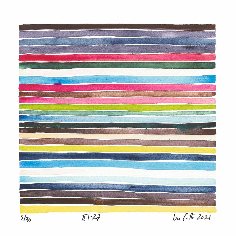 colorful stripes painting with greens, red, and blues that follows the 1-27 digits of pi