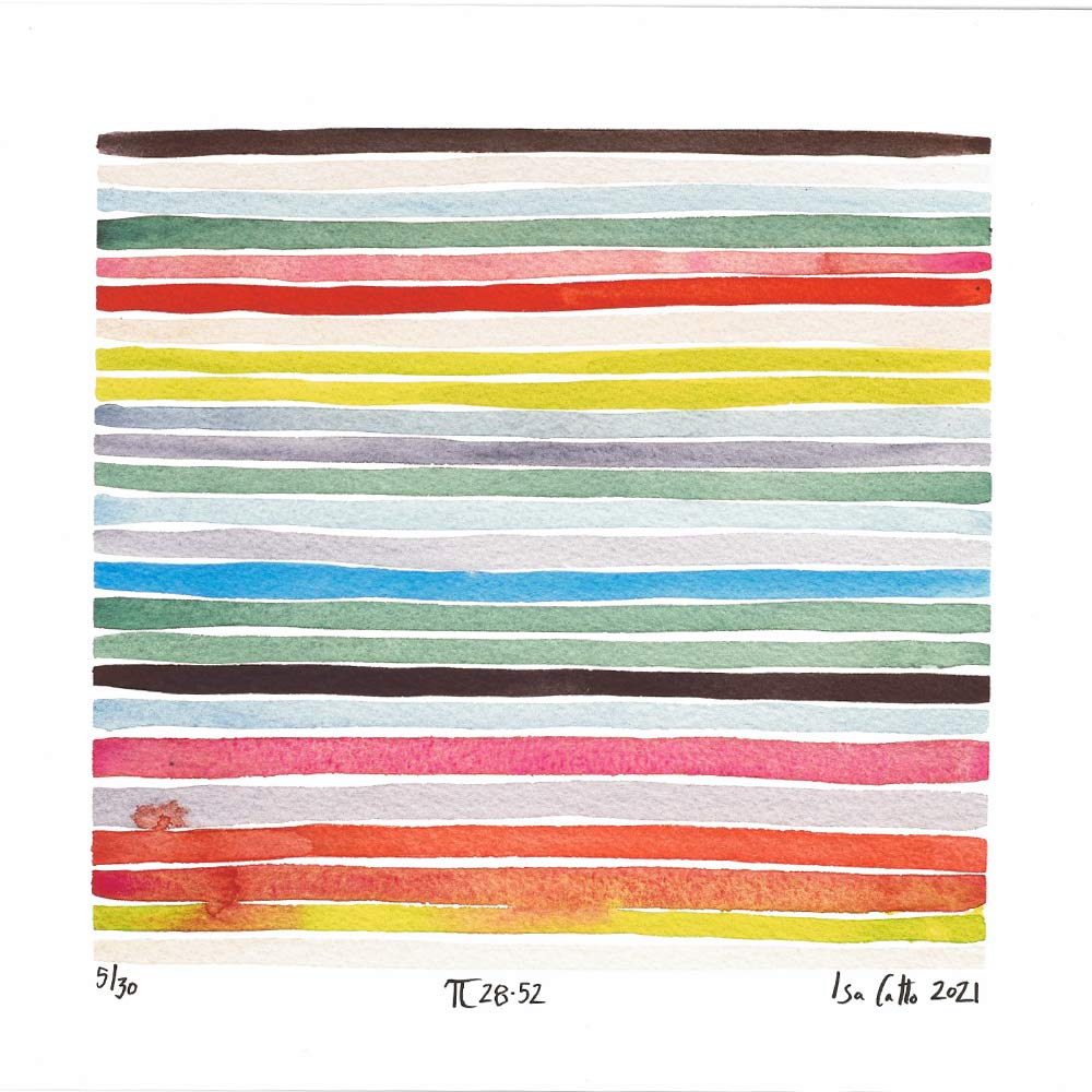 colorful stripes painting with greens, red, and blues that follows the 28-52 digits of pi