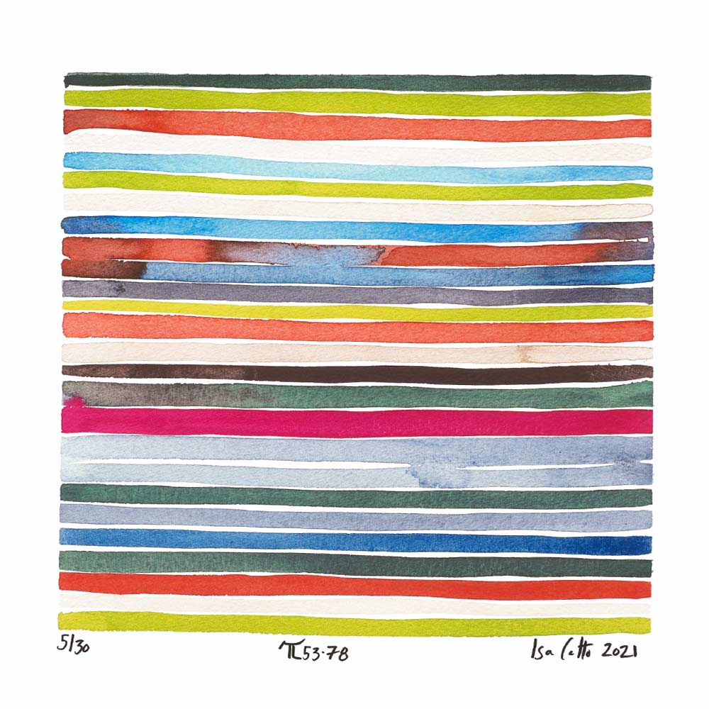 colorful stripes painting with greens, red, and blues that follows the 53-78 digits of pi