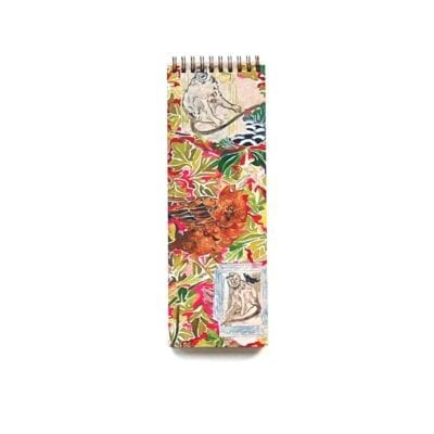 skinny notebook, great for making to-do lists, colorful jungle design with monkeys, birds and foliage