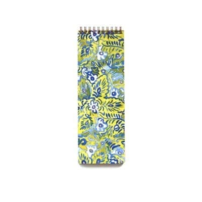 skinny notebook, great for making lists, green, blue and white floral pattern