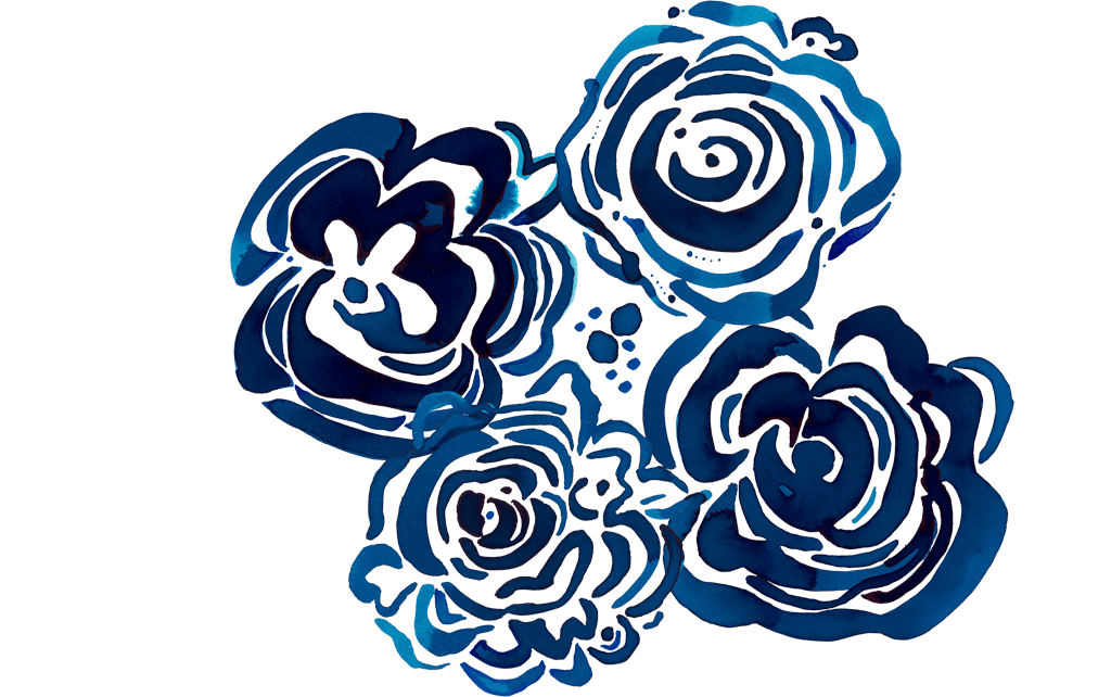 blue watercolor peonies arranged in a circle